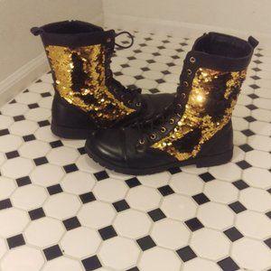 Black & Gold Mermaid Fabric Combat Boots Size 10